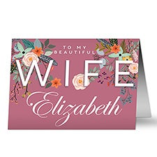Floral Wife Personalized Greeting Cards - 23008