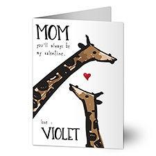 Mom Giraffe Personalized Valentine's Day Card For Mom - 23011