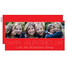 Red Scallop Photo Frame Personalized Valentine's Day Cards - 23016