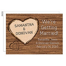 Rustic Wooden Heart Save the Date Wedding Cards - 23032