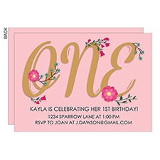 First Birthday Pink Floral Personalized Birthday Party Invitations - 23071