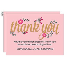 Pink Floral Personalized Thank You Cards - 23072