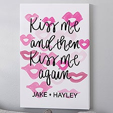 Kiss Me & Then Kiss Me Again Personalized Canvas Prints - 23092
