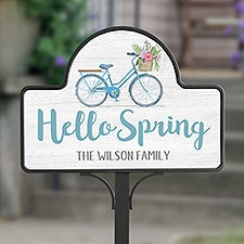 Personalized Hello Spring Garden Sign - Floral Bicycle - 23110