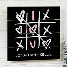 Tic-Tac-Toe Hearts Personalized Wooden Shiplap Signs - 23148