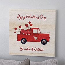 Rustic Valentine Truck Personalized Canvas Prints - 23150