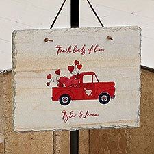 Rustic Valentine Truck Personalized Slate Sign - 23155