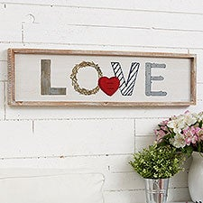 Rustic Love Personalized Barnwood Frame Wall Art - 23157
