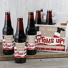 Bottoms Up Christmas Personalized Beer Bottle Labels & Carrier - 23167