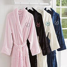 Embroidered Luxury Fleece Robes - Floral Wreath - 23200