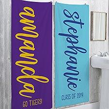 Personalized Graduation Bath Towels - Scripty Style Text - 23209