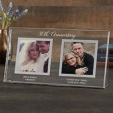 Anniversary Picture Frame - Personalized Double Photo Glass Frame - 23218