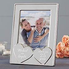 Anniversary Hearts Personalized Silver Picture Frame - 23229
