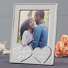 Engraved Silver Picture Frame - Romantic Hearts - 23230