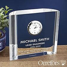 Orrefors Engraved Crystal Clock - Retirement Clock Gift - 23237