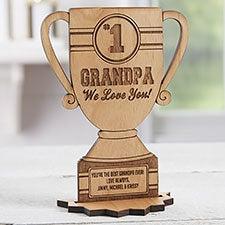 #1 Grandpa Trophy Personalized Wooden Trophy Keepsake - 23246
