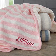 Custom Embroidered Knit Baby Blankets - Name, Monogram, Initial - 23248