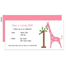 Giraffe First Birthday Party Personalized Invitations - 23263