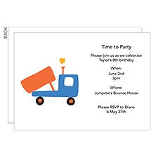 Personalized Kids Party Invitations - Truck, Train, Plane, Boat - 23268