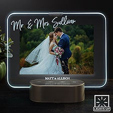 LED Picture Frames Personalized Light Up Glass Wedding Frame - 23322