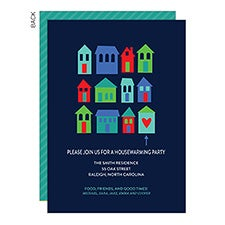 Colorful Houses New Home Housewarming Party Invitations - 23342