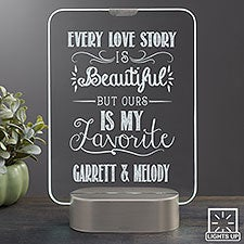 Personalized Romantic Glass LED Light Gifts - Love Quotes - 23354