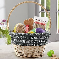 Repeating Pet Name Personalized Easter Basket With Drop-down Handle - 23381