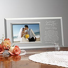 Personalized Glass Picture Frame with Wedding Blessing - 23394