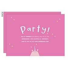 Unicorn Personalized Kids Birthday Party Invitations - 23445