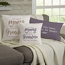 The Best Moms Get Promoted To Grandma Personalized Throw Pillows - 23455