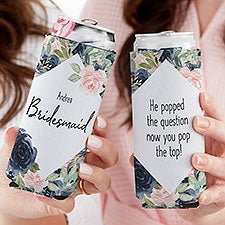 Navy Colorful Floral Bridesmaid Personalized Slim Can Cooler - 23502