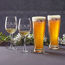 Personalized Wedding Favor Glasses - The Big Day - 23609