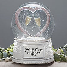 Personalized Musical Light Up Snow Globe Wedding Gift - 23677