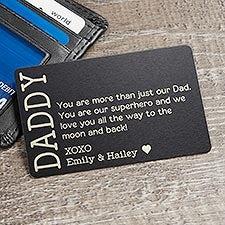 I Love You Dad Engraved Metal Wallet Card Insert - 23722
