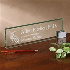 Personalized Glass Nameplate - Academic Design - 2376