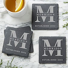 Custom Engraved Personalized Slate Coasters - Set of 4 - 24015