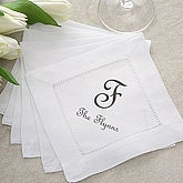 Monogrammed Linen Cocktail Napkins Party Set - 2409