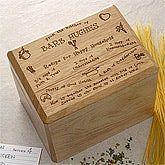 Personalized Wood Recipe Box - Recipe for a Happy Household - 2414