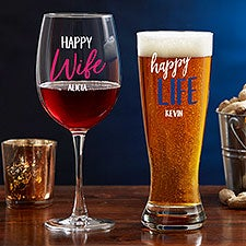 Happy Wife, Happy Life Personalized Glasses - 24187