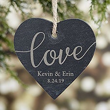 Engraved Love Slate Couples Christmas Ornament - 24511