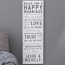 Rules For A Happy Marriage Personalized Canvas Prints - 24535