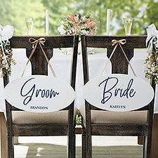Personalized Wedding Chair Signs - Wedding Couple Oval Wood Signs - 24549