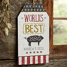 World's Best BBQ Personalized Wooden Wall Tag Sign - 24805