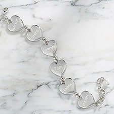 Personalized Heart Bracelet With Family Names - 24892