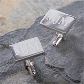Personalized Silver Engraved Cuff Links - Herrington Collection - 2497