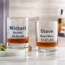 Groomsmen 14oz Custom Printed Whiskey Glasses - 24992