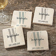 Farmhouse Initial Personalized Tumbled Stone Coasters - Set of 4 - 24999