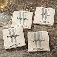 Farmhouse Initial Personalized Tumbled Stone Coasters - Set of 4 - 24999