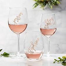 Personalized Vinyl Rose Wine Glasses - 25003