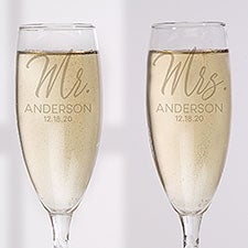 Stamped Elegance Personalized Wedding Champagne Flute Set - 25008